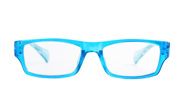 Blue plastic glasses isolated
