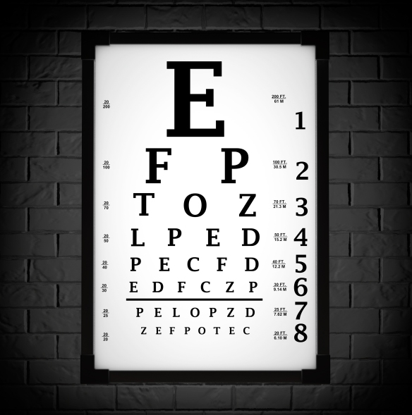 Snellen Eye Chart Test Box in front of brick wall. 3d Rendering