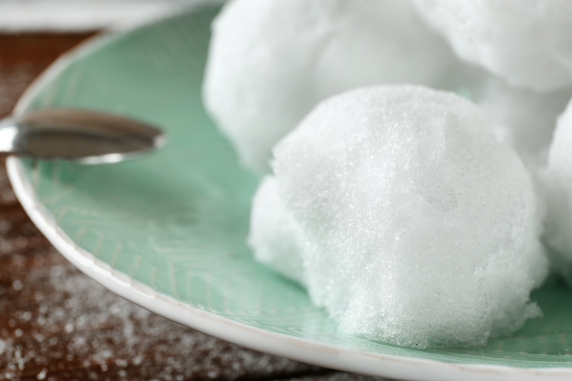 Snow ice cream on beautiful plate, closeup