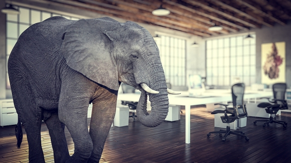 elephant in the room, modern industrial office 3d rendering imag